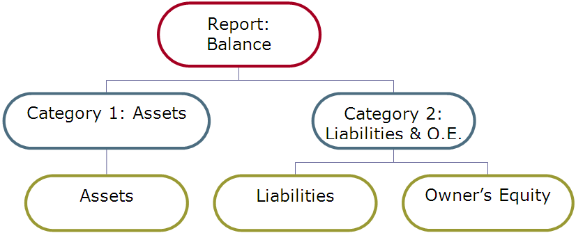 Balance sheet and P&L structure. US Balance Schema.