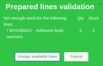 Stock validation when preparing a line