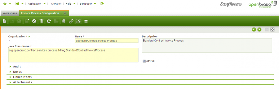 Invoice process configuration