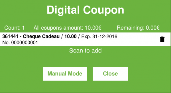 Digital Coupon Dialog