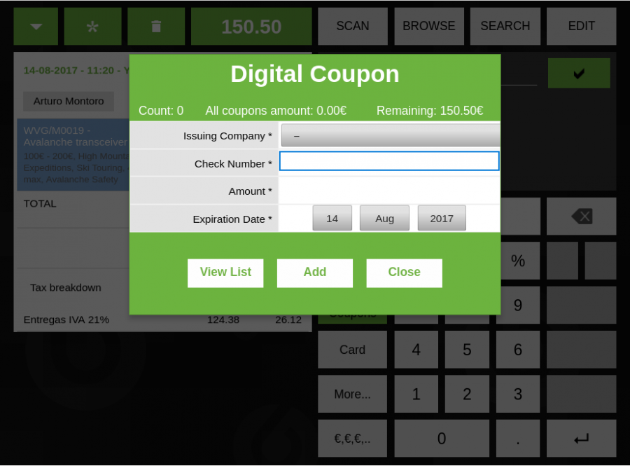 Digital Coupons Dialog