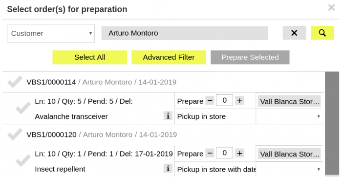 Order Preparation window filtered