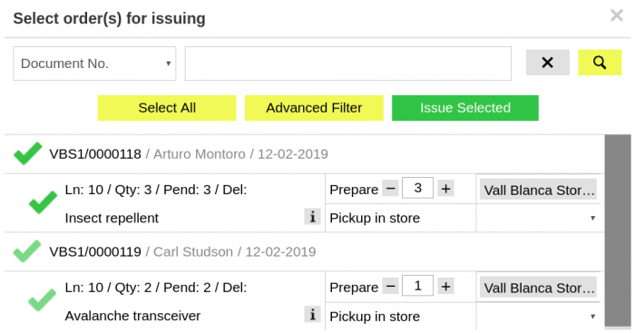 Setting quantities in Issue Sales Order window
