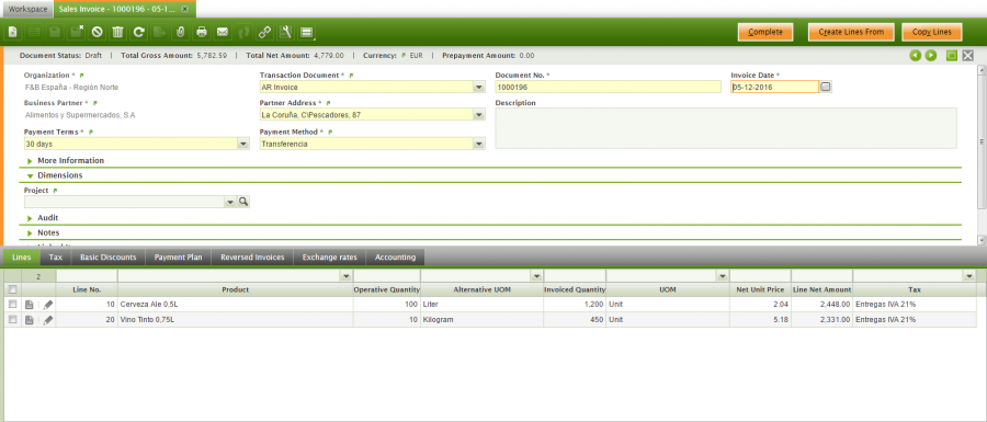 Lines of a Sales Invoice with AUM fields