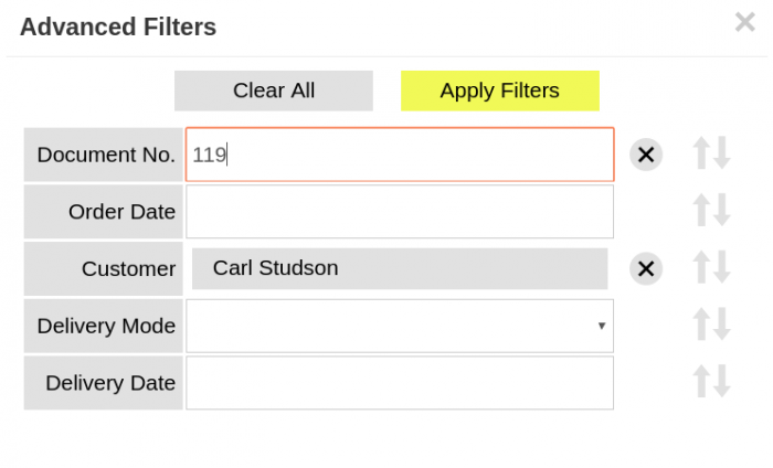 Advanced filters in Issue Sales Order window