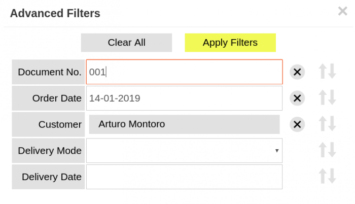 Advanced filters in Order Preparation window
