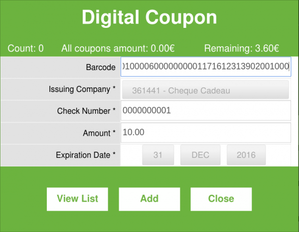 Digital Coupon List