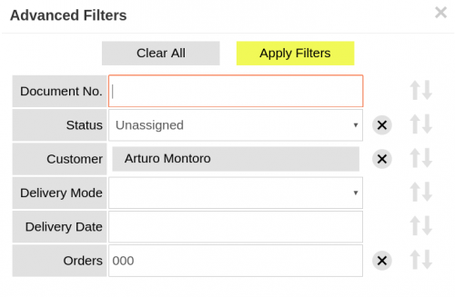 Picking window advanced filters